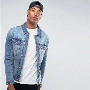ASOS DESIGN Tall skinny denim jacket in mid wash